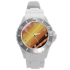 Diagonal Color Fractal Stripes In 3d Glass Frame Round Plastic Sport Watch (L)