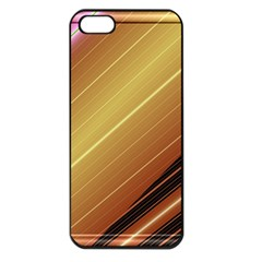 Diagonal Color Fractal Stripes In 3d Glass Frame Apple Iphone 5 Seamless Case (black)