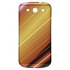 Diagonal Color Fractal Stripes In 3d Glass Frame Samsung Galaxy S3 S III Classic Hardshell Back Case