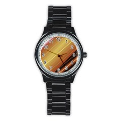 Diagonal Color Fractal Stripes In 3d Glass Frame Stainless Steel Round Watch
