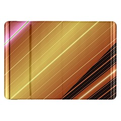 Diagonal Color Fractal Stripes In 3d Glass Frame Samsung Galaxy Tab 8.9  P7300 Flip Case