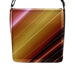 Diagonal Color Fractal Stripes In 3d Glass Frame Flap Messenger Bag (L)