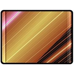 Diagonal Color Fractal Stripes In 3d Glass Frame Double Sided Fleece Blanket (large)