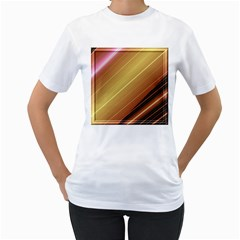 Diagonal Color Fractal Stripes In 3d Glass Frame Women s T-Shirt (White)