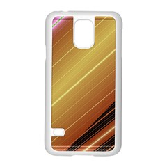 Diagonal Color Fractal Stripes In 3d Glass Frame Samsung Galaxy S5 Case (White)