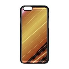 Diagonal Color Fractal Stripes In 3d Glass Frame Apple iPhone 6/6S Black Enamel Case