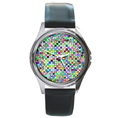 Colorful Dots Balls On White Background Round Metal Watch