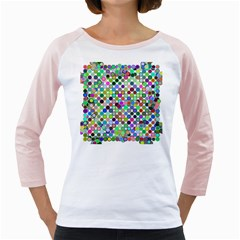 Colorful Dots Balls On White Background Girly Raglans