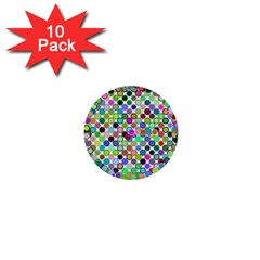 Colorful Dots Balls On White Background 1  Mini Buttons (10 Pack)