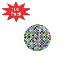 Colorful Dots Balls On White Background 1  Mini Magnets (100 Pack)