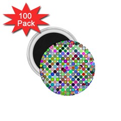 Colorful Dots Balls On White Background 1 75  Magnets (100 Pack)