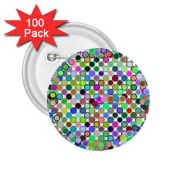 Colorful Dots Balls On White Background 2 25  Buttons (100 Pack)