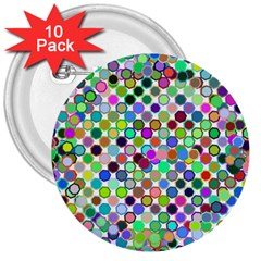 Colorful Dots Balls On White Background 3  Buttons (10 Pack)