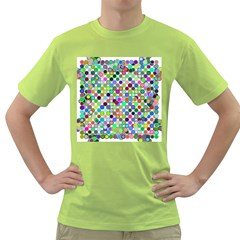 Colorful Dots Balls On White Background Green T Shirt