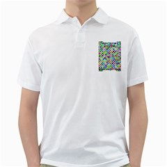 Colorful Dots Balls On White Background Golf Shirts