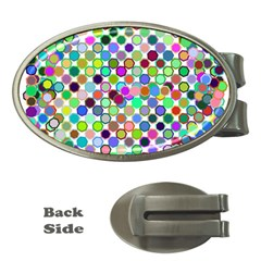 Colorful Dots Balls On White Background Money Clips (Oval)