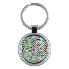 Colorful Dots Balls On White Background Key Chains (Round)