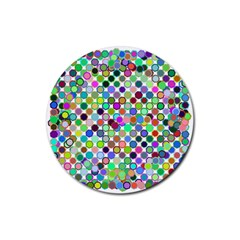 Colorful Dots Balls On White Background Rubber Round Coaster (4 Pack)