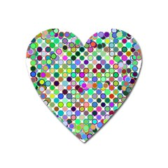 Colorful Dots Balls On White Background Heart Magnet
