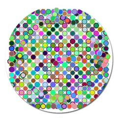 Colorful Dots Balls On White Background Magnet 5  (round)