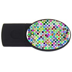 Colorful Dots Balls On White Background USB Flash Drive Oval (2 GB)