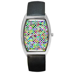 Colorful Dots Balls On White Background Barrel Style Metal Watch