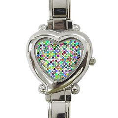 Colorful Dots Balls On White Background Heart Italian Charm Watch