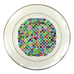 Colorful Dots Balls On White Background Porcelain Plates