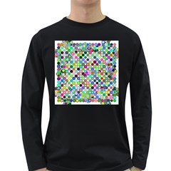 Colorful Dots Balls On White Background Long Sleeve Dark T-Shirts