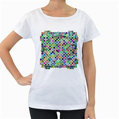 Colorful Dots Balls On White Background Women s Loose Fit T Shirt (white)