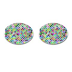 Colorful Dots Balls On White Background Cufflinks (Oval)