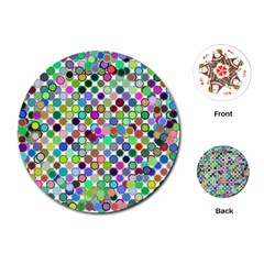 Colorful Dots Balls On White Background Playing Cards (round)