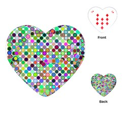 Colorful Dots Balls On White Background Playing Cards (Heart)
