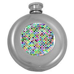 Colorful Dots Balls On White Background Round Hip Flask (5 Oz)