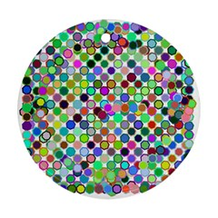 Colorful Dots Balls On White Background Round Ornament (Two Sides)