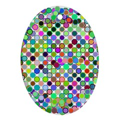 Colorful Dots Balls On White Background Oval Ornament (two Sides)