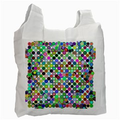 Colorful Dots Balls On White Background Recycle Bag (one Side)