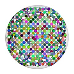 Colorful Dots Balls On White Background Round Filigree Ornament (Two Sides)