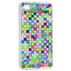 Colorful Dots Balls On White Background Apple Iphone 4/4s Seamless Case (white)