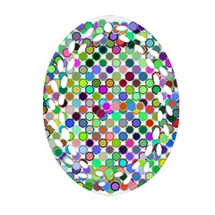Colorful Dots Balls On White Background Ornament (Oval Filigree)