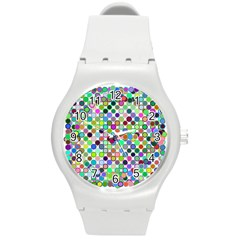 Colorful Dots Balls On White Background Round Plastic Sport Watch (M)