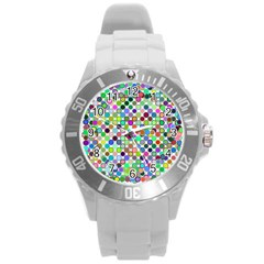 Colorful Dots Balls On White Background Round Plastic Sport Watch (L)