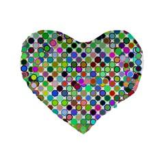 Colorful Dots Balls On White Background Standard 16  Premium Heart Shape Cushions