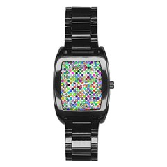 Colorful Dots Balls On White Background Stainless Steel Barrel Watch