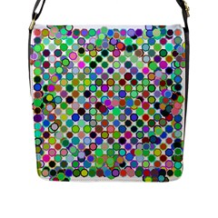 Colorful Dots Balls On White Background Flap Messenger Bag (L)