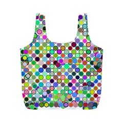 Colorful Dots Balls On White Background Full Print Recycle Bags (M)