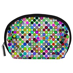 Colorful Dots Balls On White Background Accessory Pouches (Large)