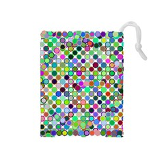 Colorful Dots Balls On White Background Drawstring Pouches (Medium)