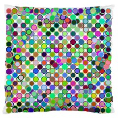 Colorful Dots Balls On White Background Large Flano Cushion Case (One Side)