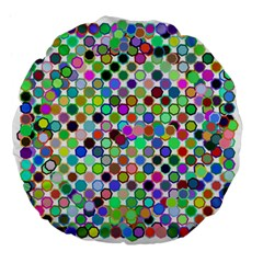 Colorful Dots Balls On White Background Large 18  Premium Flano Round Cushions